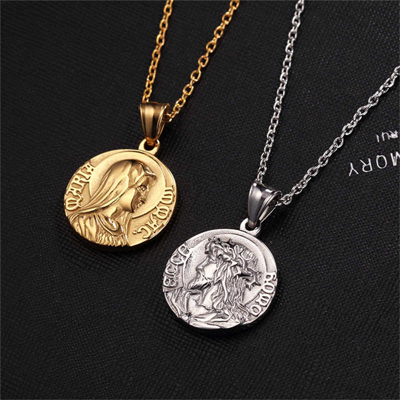 Stainless steel Gold Silver Jesus Virgin Mary Pendant Necklace Chain Photo