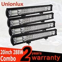 Wholesale 4pcs/lot 288w 20 INCH Offroad Car LED Work Light Bar Spot Flood for Auto Truck LED Light Bar SUV ATV 4WD