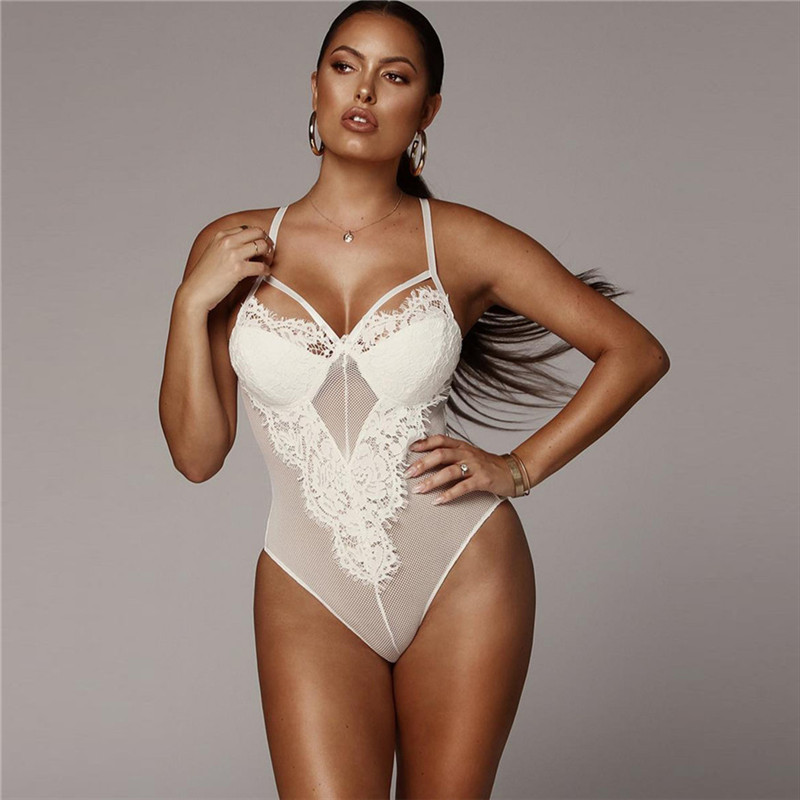 2019 Hot Womens Short Romper Bodysuit Stretch Leotard Sleepwear Tops Sexy Hollow Out Lace Bodysuit