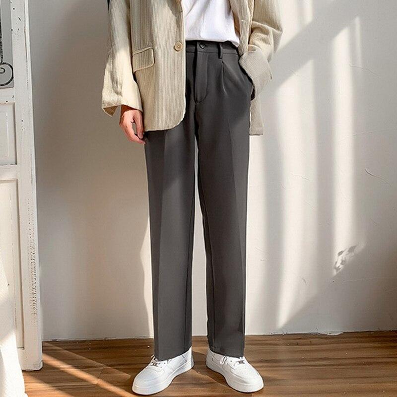 Брюки SHUJIN мужские прямые плиссированные, модные однотонные повседневные штаны с эластичным поясом, уличная одежда, свободные штаны в японс...