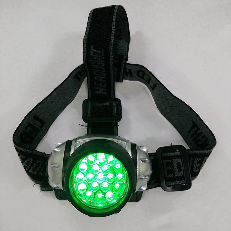 MeterMall 19 LED High Intensity Green Head Lamp Hydroponics Horticulture Grow Room Headlamp Flash Night