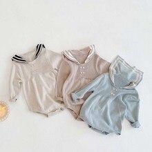 Newborn Knitwear Sailor Rompers Jumpsuit Long-Sleeve Baby-Girl Kids Unisex Korean One-Piece