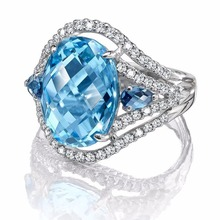 Diamond ring rose gold rings Crystal moissan emerald High-grade exquisite sea blue zircon diamond Mens Indian B2539