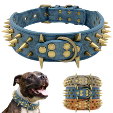 Cool Dog Collar Spiked Studded Leather Pet Dog Collars Pitbull Bulldog Collar Perro For Medium Large Dogs Boxer German Shepherd dog collars 2 feet wide for pit bulldog boxer doberman