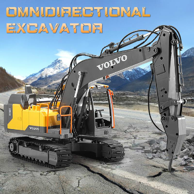 E568 Alloy Excavator 1:16 Rc Alloy Excavator 17ch Big Rc Trucks Simulation Excavator Remote Control Vehicle Toys For Boys