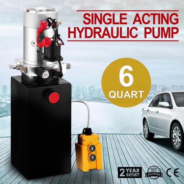 6 Quart Single Acting Hydraulic ปั๊ม Dump Trailer 12V Lift Reservoir