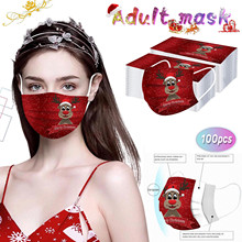 Christmas-Print-Masks Protection Disposable 100pcs for Face-Mask Earloop Lovely Santa-Elk