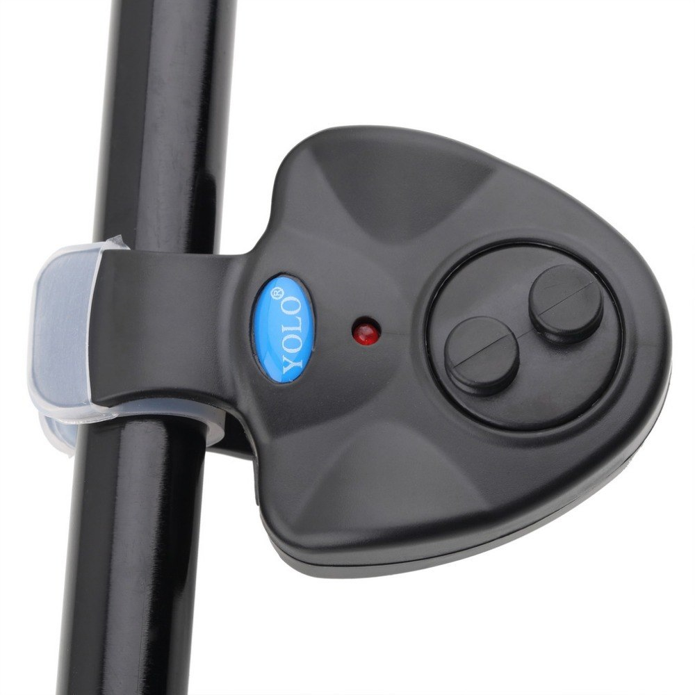 YOLO Electronic Fish Bite Sound Alarm LED Light Alert Bell Fishing Rod Clip-On With 3 X LR44 Button Battery New