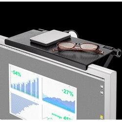 Tela do computador prateleira superior suporte de armazenamento desktop tela mágica caddy abs tv rack de exibição prateleira de armazenamento em casa preto rack