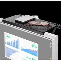 Tela do computador prateleira superior suporte de armazenamento desktop tela mágica caddy abs tv rack de exibição prateleira de armazenamento em casa preto rack|Armazenamento p/ escritório em casa| |  -