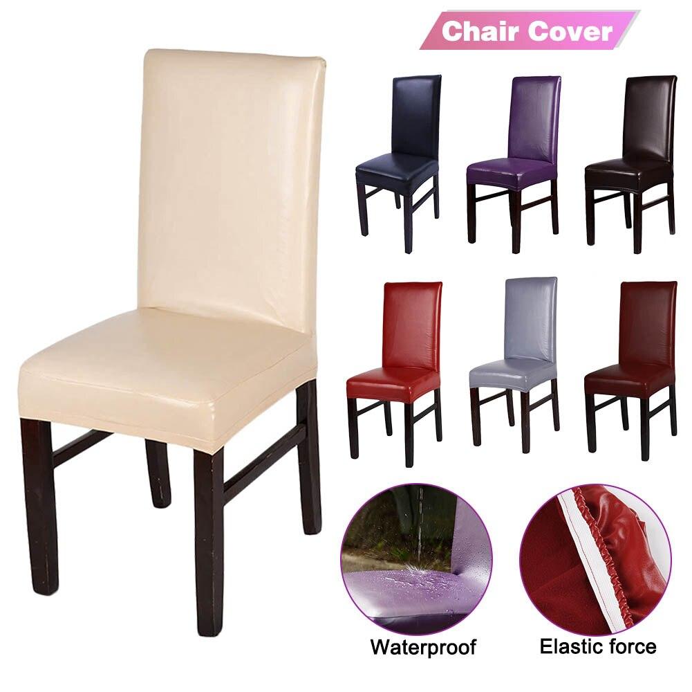 1/2/4 шт. Чехол для стула из искусственной кожи Твердый водонепроницаемый и маслостойкий Чехол для сидения на обеденном стуле растягивающийс...
