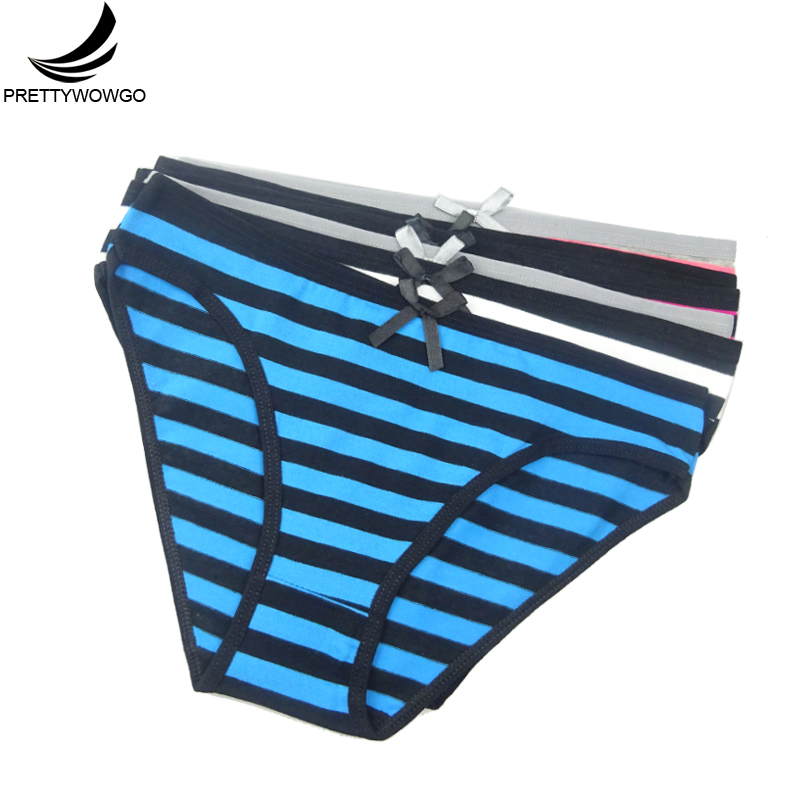 Prettywowgo 6 pcs/lot Women's Panties Cotton Women Striped Cotton Briefs Underwear 6861