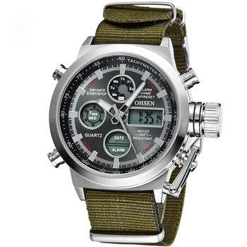 Men Watches Luxury OHSEN Military Sports Watch Digital Canvas Strap High Quality clock Wristwatch Relogio Masculino - discount item  45% OFF Men's Watches