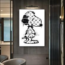 Moderno adorável cão pintura em tela abstrata animais quadros de parede quadros da arte da parede imagem para o quarto dos miúdos decoração da parede