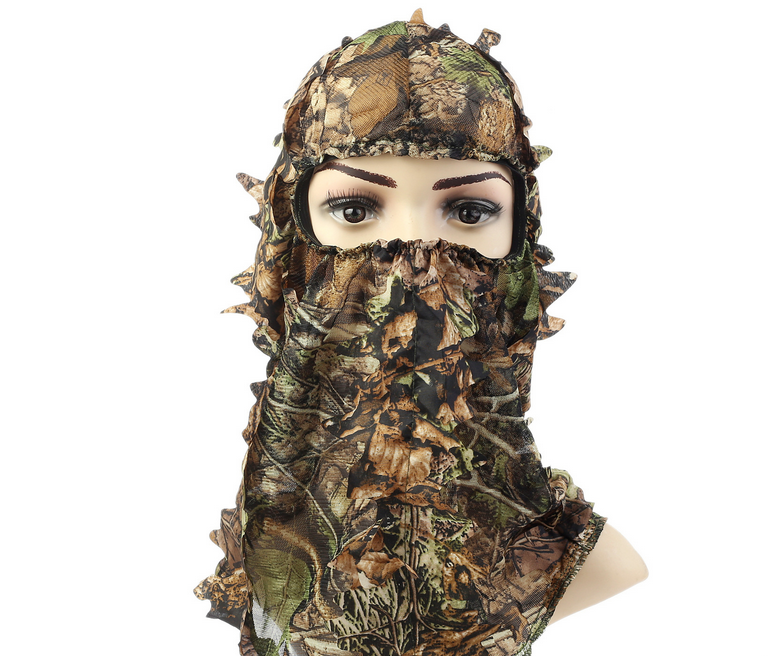 Camouflage Leafy Hunting Ghillie Suit Sniper Tactical Camouflage Headvie Hood Green Leafy Net Eyehole Opening And Leaf Pattern