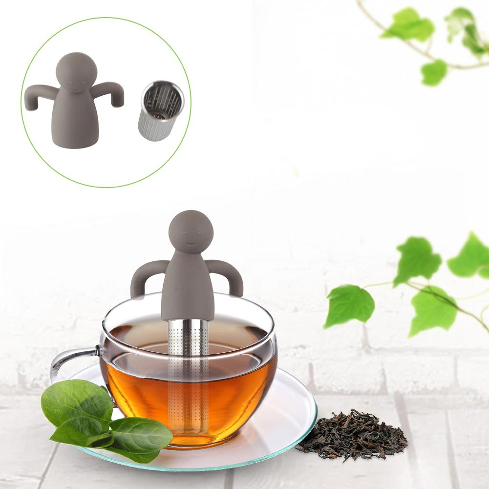 304 Stainless Steel Silicone Humanoid Tea Strainer Tea Filter Brown Kitchen Tools Coffee Herb Spice Filter Diffuser