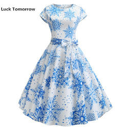 O-Neck Big Swing Vintage Christmas Dress Women Summer 50s 60s Elegant Party Dresses Casual Short Sleeve Floral Plus Size Dress 5