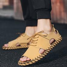 Мужские сандалии уличные Нескользящие дышащие кожаные босоножки