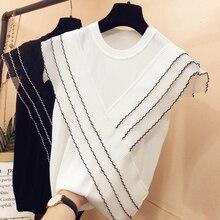 Three-layer ruffles chiffon patchwork ice silk knitted sweater women Korean o-neck thin pullover black white tops summer 2020