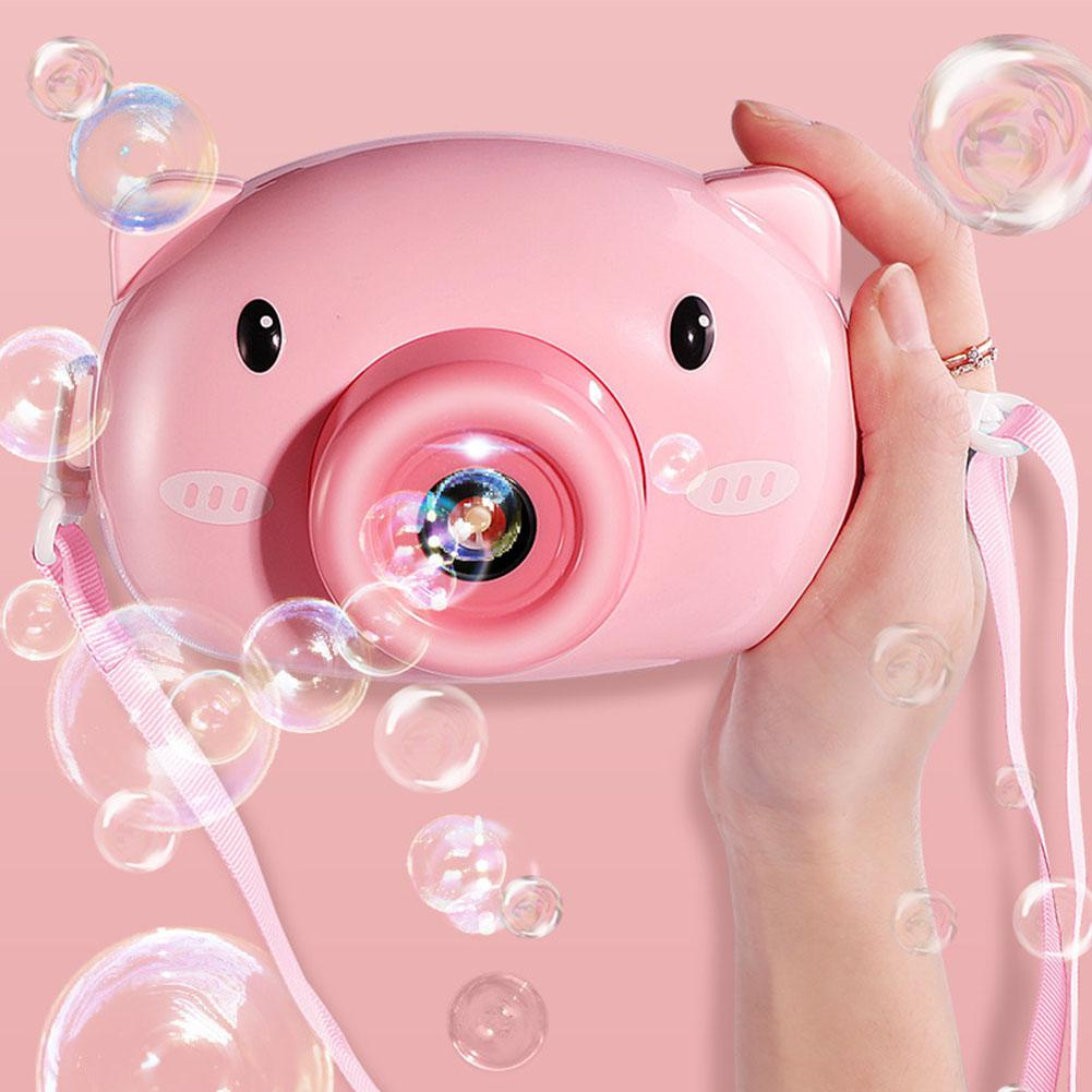 Cute Cartoon Pig Camera Kids Baby Bubble Machine Outdoor Automatic Bubble Maker Gift For Girlfriend Bath Toys For Children