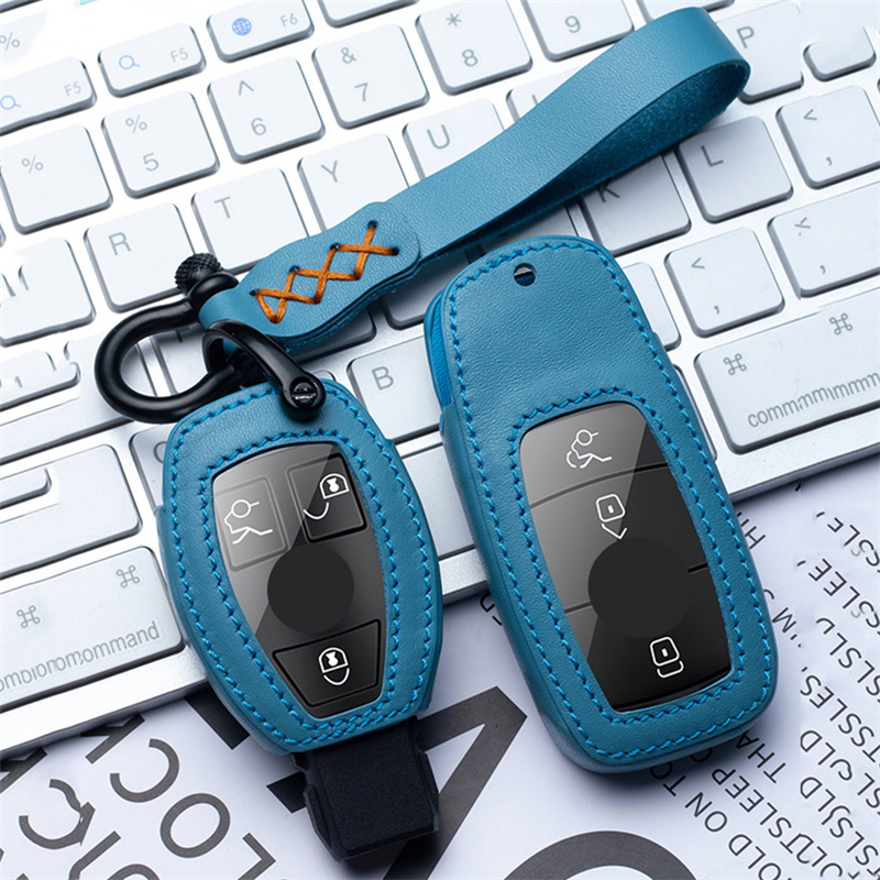 Genuine Leather Car Key Cover Case Shell For Mercedes Benz W213 W204 W205 W212 CLK ML SLK B C E S Class Accessories Car Styling