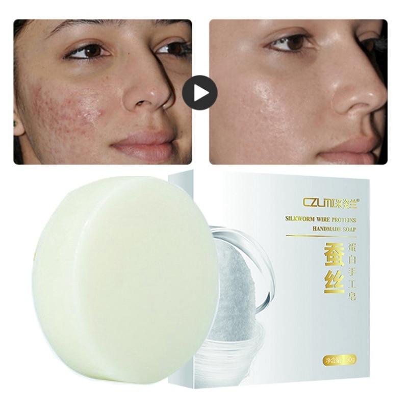 Silk Protein Soap Moisturizing Control Oil Lighten Melanin Brighten Skin Tone Whitening Hand-Made Soap 50g K1