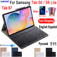 Case for Samsung Galaxy Tab S6 Lite 10.4 Keyboard Case Tab S6 10.5 S7 11 Cover Russian Spanish English Korean Bluetooth Keyboard