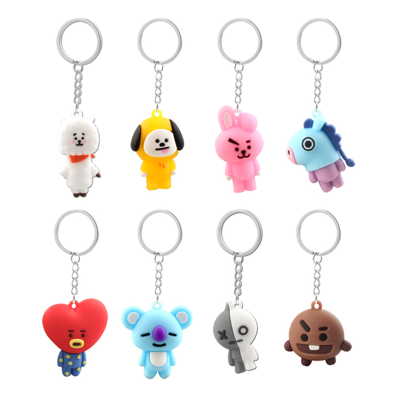 Kpop <font><b>Bts</b></font>-Bangtan Boys Keychain Band Member Personalized Cute Cartoon Keychains For Women Men Jewelry Key Chain Bag Car Pendant image