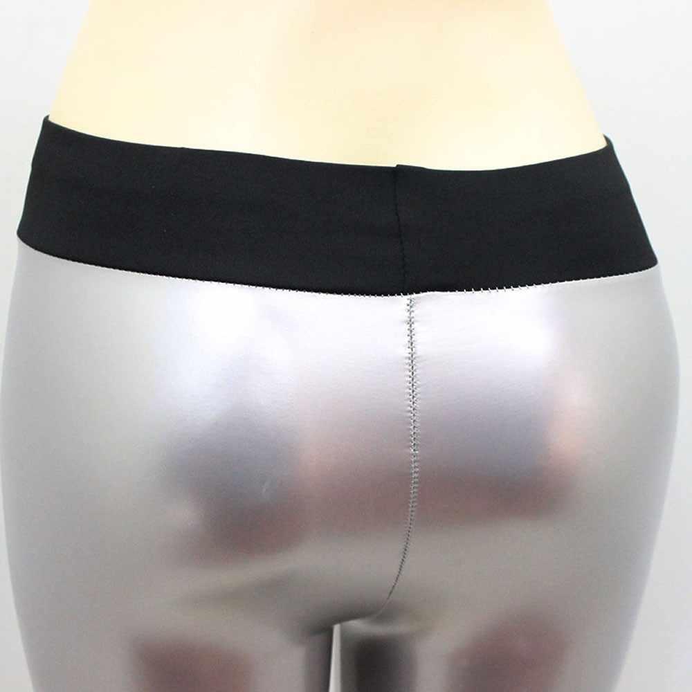 Frauen Einfarbig Schwarz High-taille Elastische Bleistift Hosen Sexy Engen PU Beschichtung Imitieren Leder Hose Weibliche PU Dünne hosen