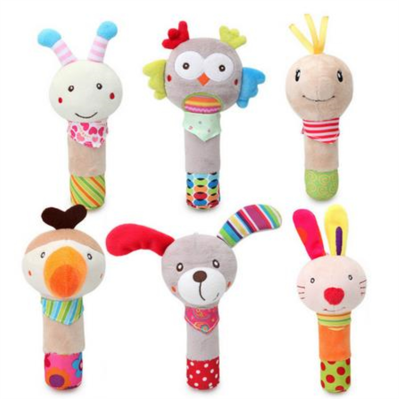 2019 Baby Rattle Mobiles Cute Baby Toys Cartoon Animal BB Stick Hand Bell Rattle Soft Toddler Plush Toys For 0-18 Months Baby