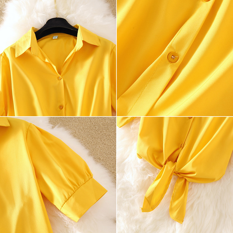 Korean Fresh Bluse Shirts Women's Summer Short Sleeve Elegant Pink Blouse Women Fashion Slim Turn-down Collar Ladies Tops Yellow