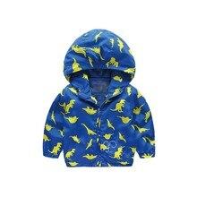 Детская одежда, ветровка с капюшоном для мальчиков, Осенняя детская куртка с рисунком динозавра из мультфильма