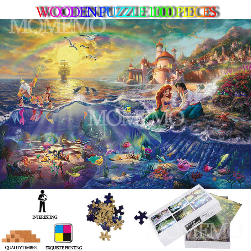 Little Mermaid Adults 1000 Pieces Wooden Puzzle Cartoon Anime Wooden Jigsaw Puzzels High Definition DIY Assembly Puzzle Toys Gif