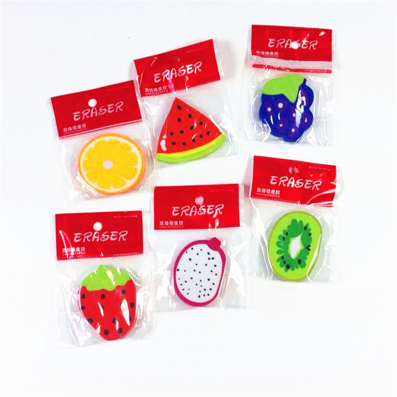 36pcs/lot Fruit Six Pattern Design To Choose Eraser Gift Student School Supplies Wholesale