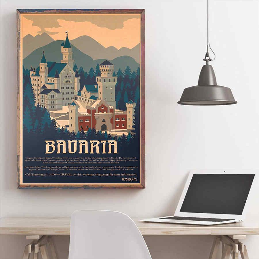 בוואריה בניין פוסטר קיר אמנות מדבקת בציר קראפט נייר קפה פאב בר מלון דקור יד מצוירת נוף תמונה 42x30cm