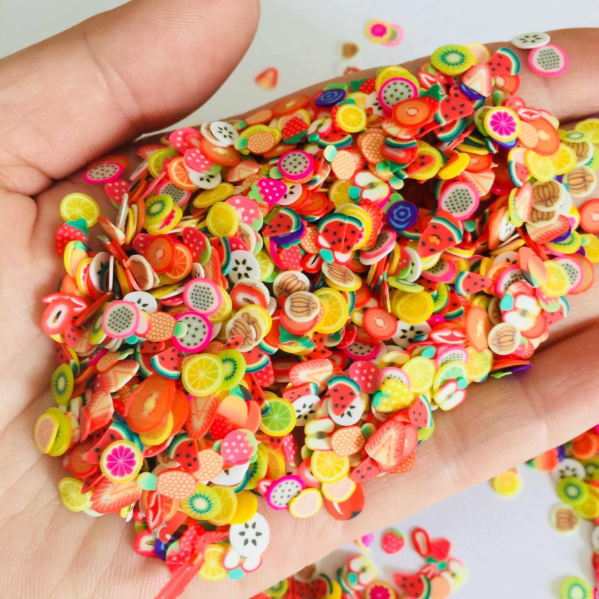 1000pcs ผลไม้ Filler สำหรับเล็บเคล็ดลับ Art เครื่องปั้นดินเผา Slime ผลไม้สำหรับเด็ก DIY slime อุปกรณ์เสริมอุปกรณ์ตกแต่งของเล่น