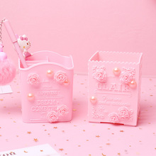 Pink Carve Cosmetic Brush Storage Box Holder Makeup Skin Care Rack Mobile Phone Stationery Organizer Container Pencil Bucket Bin