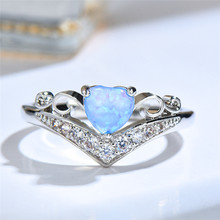 boho female blue opal stone ring dainty round crystal silver wedding rings for women cute bridal love heart engagement ring Luxury Female Blue Opal Stone Ring Elegant Silver Hollow Zircon Wedding Rings For Women Cute Bridal Love Heart Engagement Ring