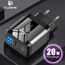 FLOVEME USB Charger 20W Quick Charge 3.0 PD Fast Charging Charger For iPhone Samsung Xiaomi EU/US/UK Plug Mobile Phone Charger