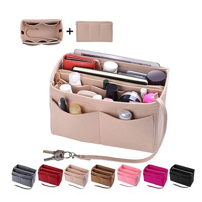 Felt Zipper Handbag Tundish Multi-functional Washed Cosmetics Storage Bag Large Size Felt Pouch Organizing Bag