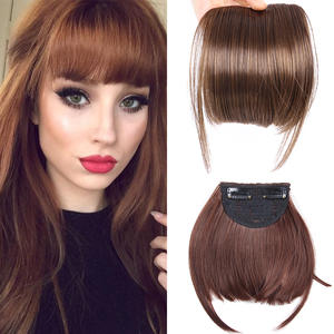 Alileader Hair-Extensions Bangs Hairpiece Blonde Clip-On Front-Fringe Brown Natural Synthetic