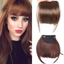 AliLeade — Extension capillaire synthétique frange noire brune et blonde, postiche cheveux doux avec Clip, naturels pour femmes