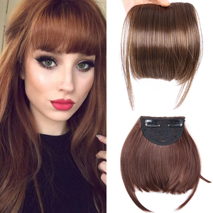 AliLeader Neat Front Fringe Clip On Bangs Hairpiece Black Brown Blonde Natural Soft Synthetic Bang Hair Extensions for Women(China)