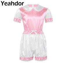 ثوب نسائي حريري مزين بالدانتيل من الساتان ملابس داخلية مقصوصة ياقة على شكل دمية وأكمام قصيرة للرجال الكبار أزياء كروسدرسر للأطفال