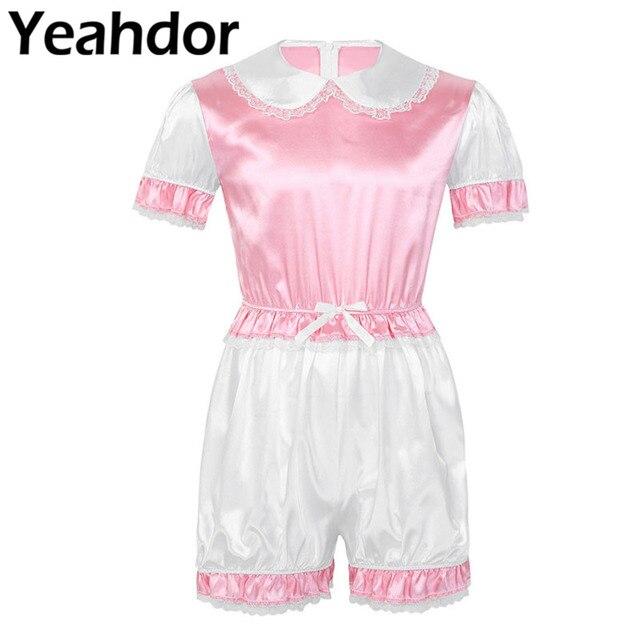Men Silky Satin Trimmed Lace Romper Sissy Lingerie Doll Collar Short Puff Sleeves Mens Adult Baby Crossdresser Cosplay Costume