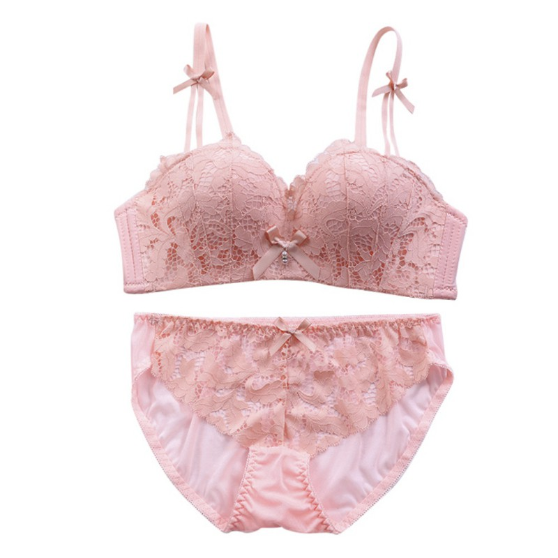 Women's Lace Embroidery Bra+ Underwear Breathable Padded Push Up Bra Sets Comfortable Bra + Underwear