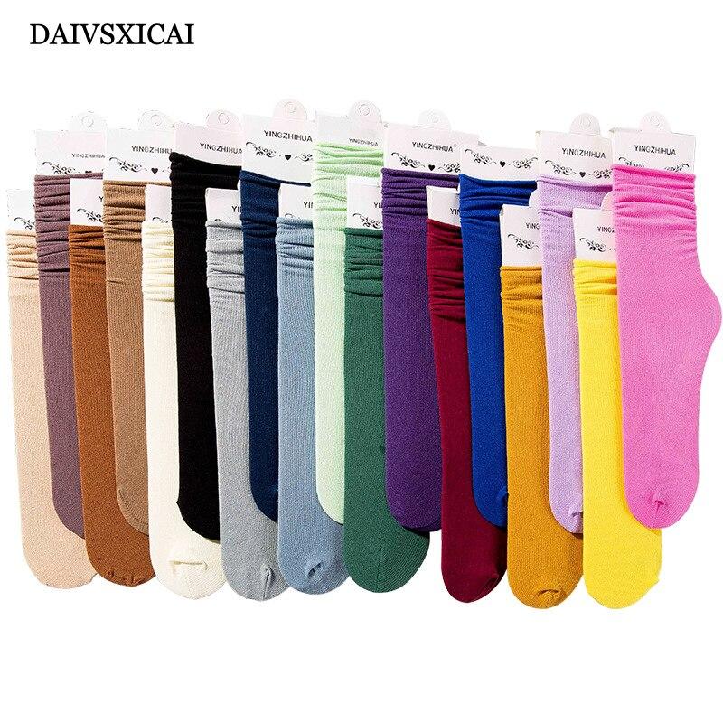 3Pairs/lot=6Pieces Autumn Velvet Socks Female Fashion Long Socks Ladies Candy Color Breathable Socks Cotton Women