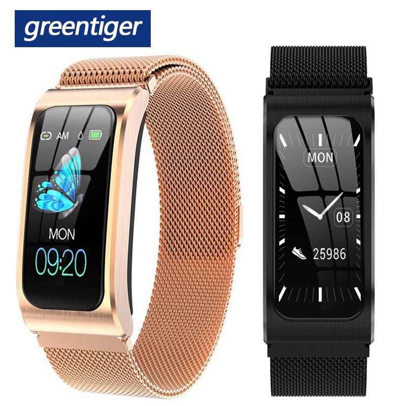 Greentiger AK12 Smart Gelang Pria Wanita IP68 Tahan Air Tekanan Darah Siklus Menstruasi Monitor Kebugaran Tracker Smart Band