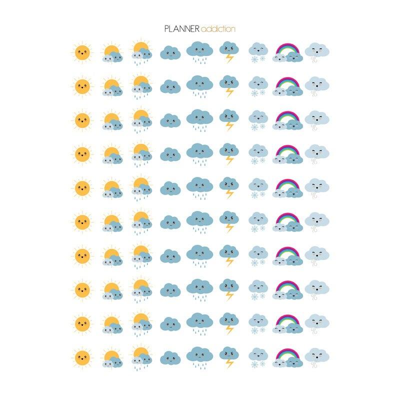 2 PCS Kawaii Weather Sun Cloud DIY Decoration Scrapbooking Notebook Stationery Stickers Uncut Art Paper Planner Diary Sticker