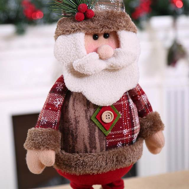 Christmas Decoratios For Home Dolls Xmas Tree Decor New Year Ornament Reindeer Snowman Santa Claus Standing Doll New Year Gift 14